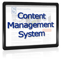 Image of web page with the words 'Content Management System' on top